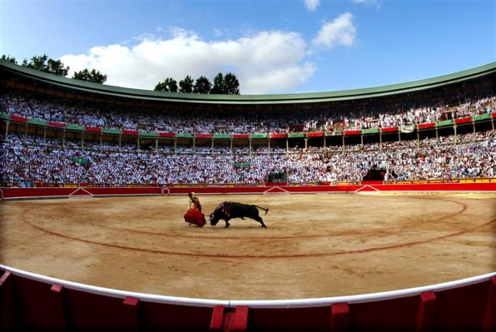 Bullfighter Eduardo Davila Miural performs a pass in Pamplona's bullring during the San Fermin festival late July 12, 2004. Every morning at 8 a.m. (0600 GMT), from July 7 to 14 each year, six bulls are released onto an 825-metre (900 yard) course leading through Pamplona's winding streets to the bullring, where they will be killed in an afternoon bullfight. NO RIGHTS CLEARANCES OR PERMISSIONS ARE REQUIRED FOR THIS IMAGE REUTERS/Dani Cardona SP/JV